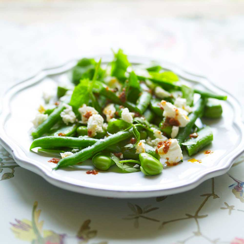Bean And Feta Spring Salad Recipe With A Spicy Dressing