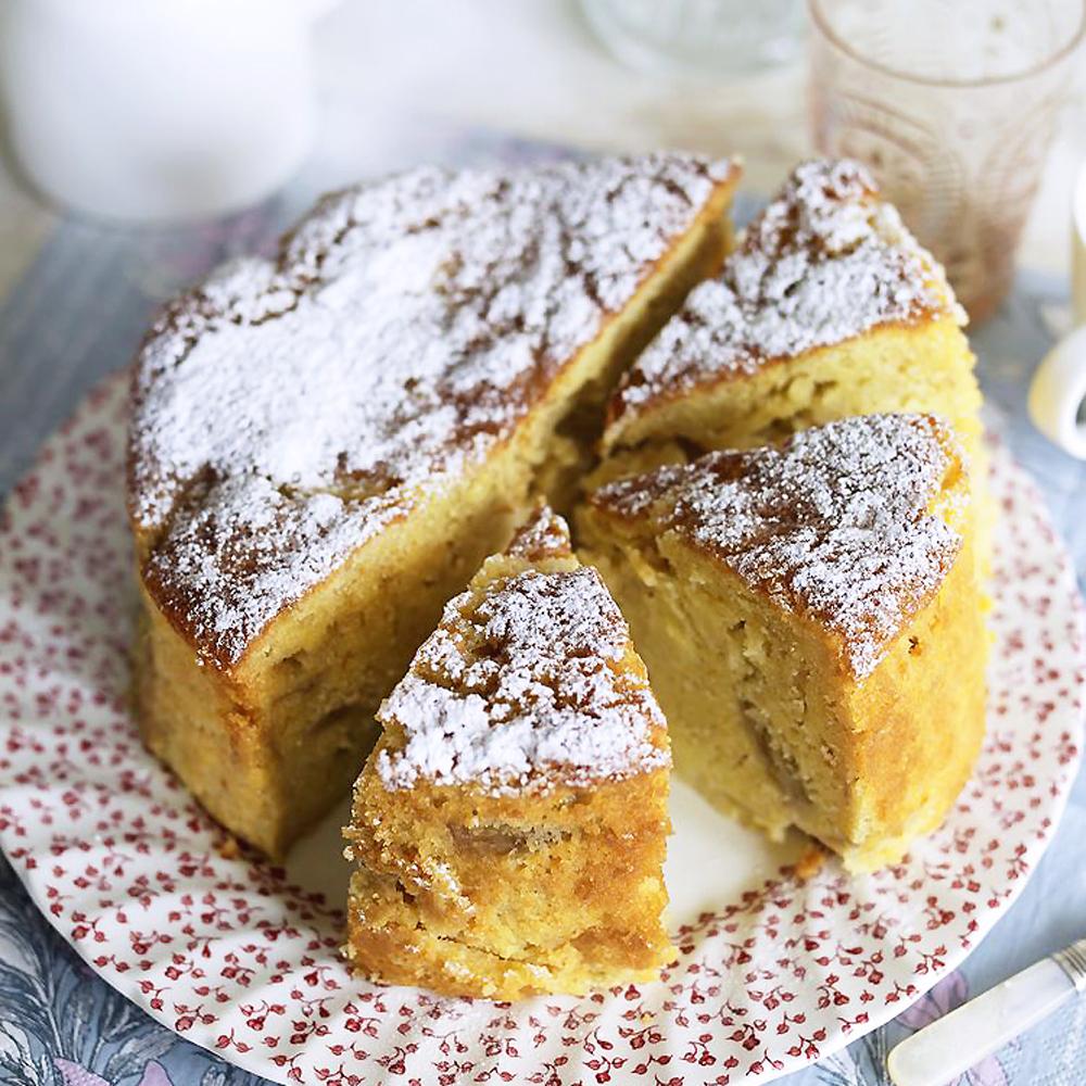 Rhubarb pear and custard cake recipe how to make for Pear recipe ideas