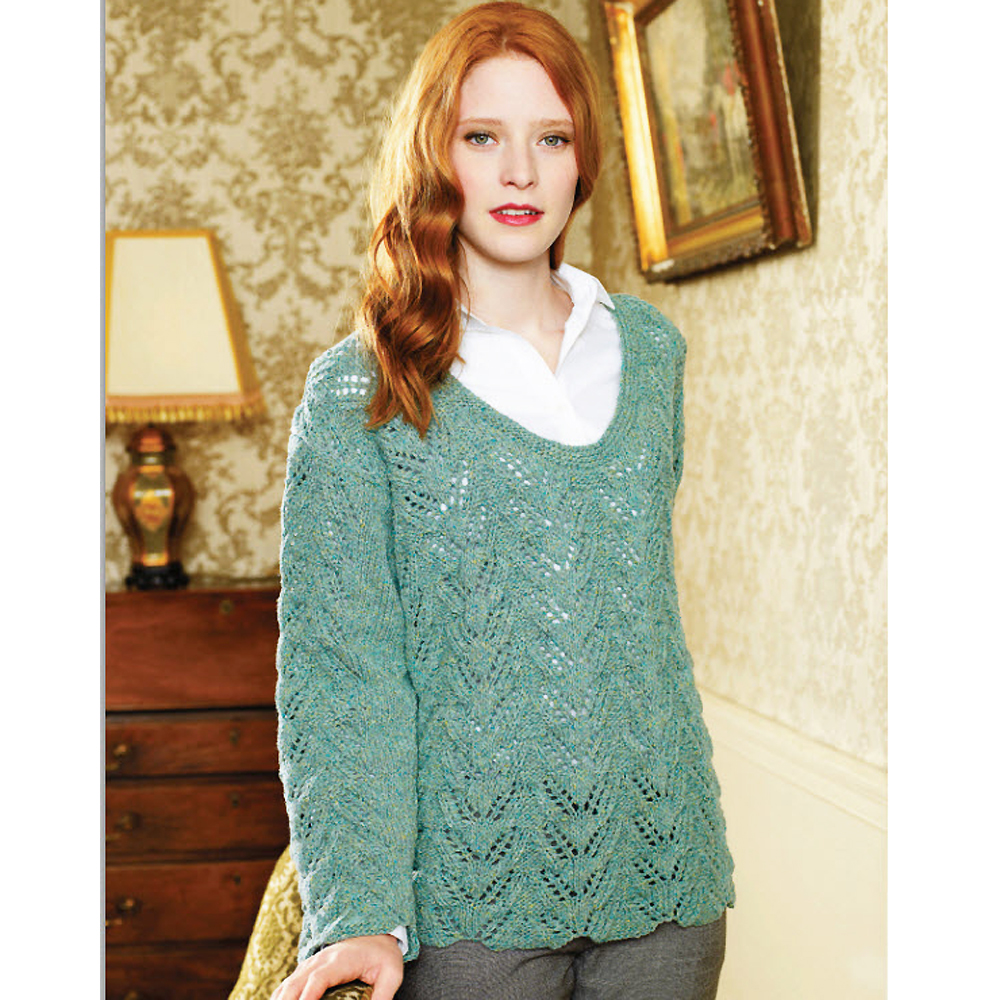 Knitting Pattern Sweater Lace : Try This Fine-Textured Knit: Lace Sweater Knitting Pattern