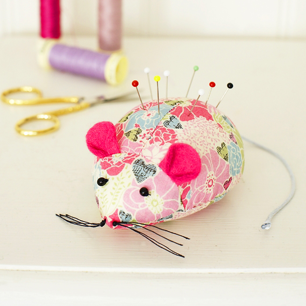 Turn leftover fabric into a cute mouse pincushion for Craft patterns to sew