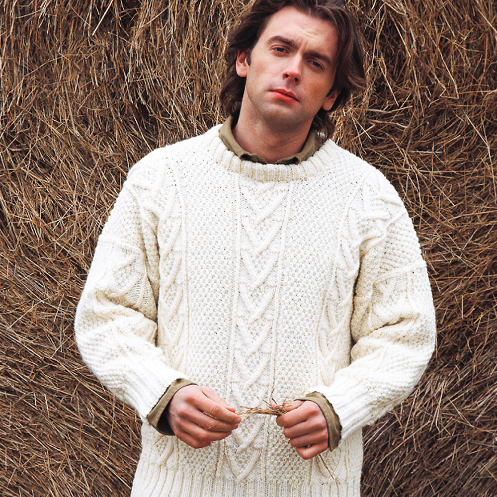 Free Knitting Pattern Mens Chunky Jumper : Knit A Real Mans Classic: Free Aran Jumper Knitting Pattern