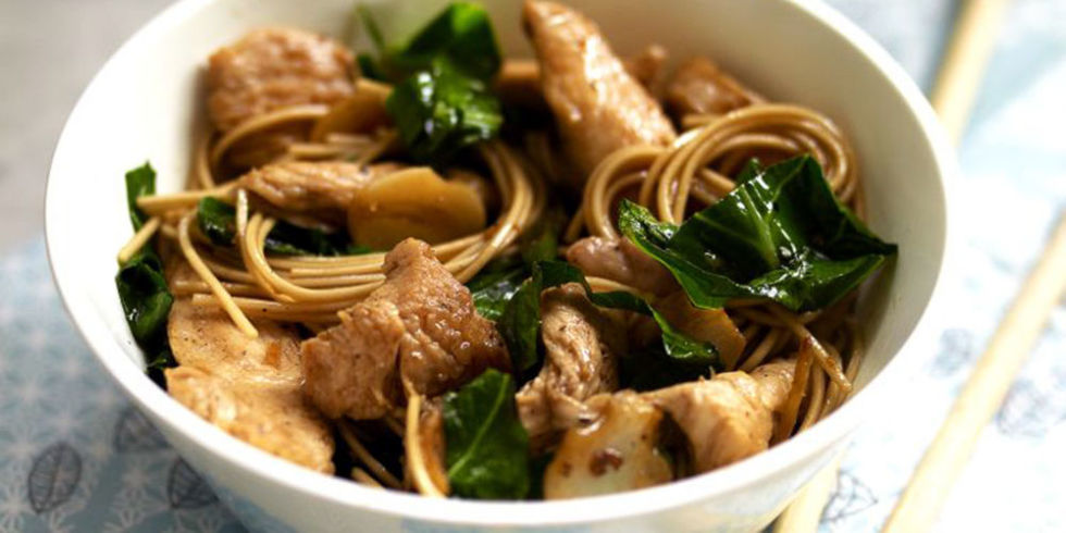 Chinese chicken noodles recipe with spring greens chicken noodles in a delicious and quick teriyaki sauce with honey and soba noodles or egg noodles this has oodles of flavour and is ready in 20 mins forumfinder Images