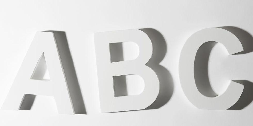 white abc letters