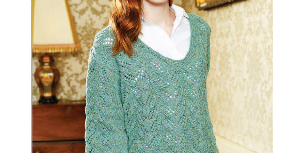 Lace Knitting Patterns For Sweaters : Try this fine textured knit lace sweater knitting pattern