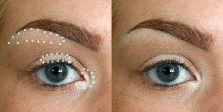 Apply highlighter to the inner corner of your eye and the center of your eyelid to appear more awake, then add some just beneath your eyebrow to create an instant lift.<br />Get the tutorial at Imgur.<br />