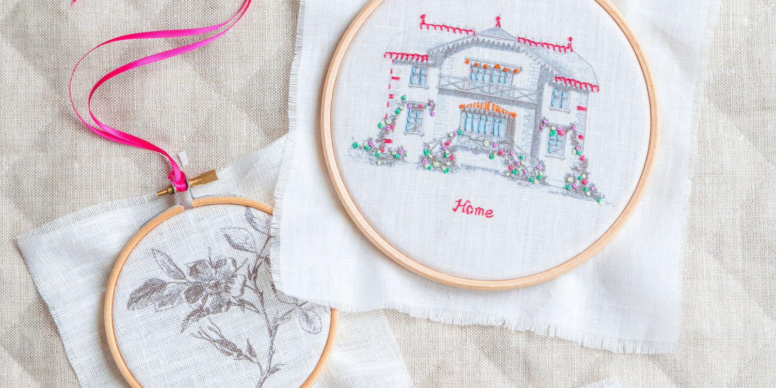 How to make a print and stitch embroidery hoop gift